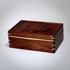 Wood Mens Box, Keepsake Box, Treasure Box Walnut with Walnut Burl Lid. The Keeper 0815-013-001 by MountainViewWood on Etsy
