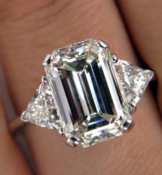 Everlasting Classic...GIA 4.58ct Estate Vintage Emerald Cut Diamond  with 2 Trillion 18k Engagement Wedding Ring by TreasurlybyDima on Etsy https://www.etsy.com/listing/217842948/everlasting-classicgia-458ct-estate