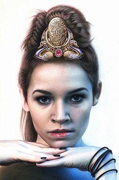 """Public School Princess"" - Erica Rose Levine, colored pencil {contemporary figurative realism art female head tiara woman face portrait cropped drawing #loveart} ericaroselevine.com"