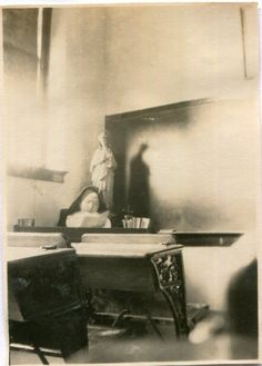 Vintage Photo of Nun At Her Desk Statue and Shadow of Mary Behind, 1910's Original Found Photo, Vernacular Photography by iloveyoumorephotos on Etsy