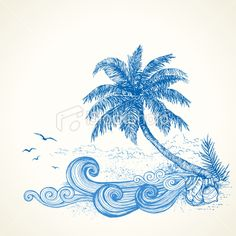 Tropical Beach Drawing Royalty Free Stock Vector Art Illustration