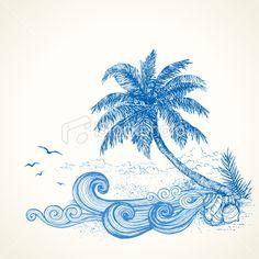 Tropical Beach Drawing Royalty Free Stock Vector Art Illustration