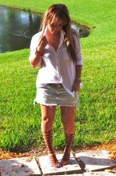 #WhiteButtondown #Gladiators #AmericanEagle #Bebe shoes #Americaneagle # denimskirt #fashionblogger #blogger #Micaelkors watch #Forever21 bracelet