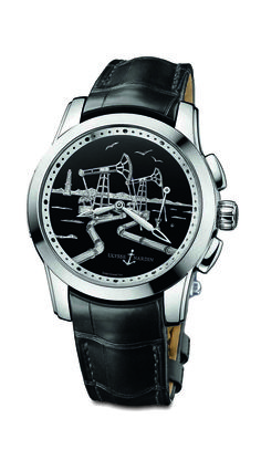 The latest edition to the Exceptional Collection, the Ulysse Nardin Hourstriker Oil Pump is a timepiece that honors industry. Adorned and delicately hand-engraved in gold, and enameled in black, the dial is one of significance, depicting the magnitude of oil fields and the harmonic rhythm of their oil pumps at work, unearthing fuel to power the world...Read more on : www.ll2.in #ulyssenardin #watches #luxury