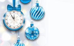 Hämta bilder Nytt År, klocka, Jul, midnatt, blå Jul bollar, blå sidenband