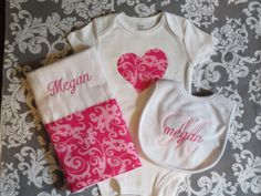 3 piece baby girl gift set. Custom made and personalized.  Several fabrics and fonts to choose from.