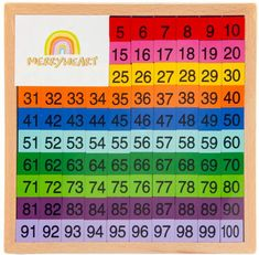 Wooden Math Learning Board 1-100: This board aids children in counting, number recognition, color recognition, sorting, matching and patterns. Help Teaching, Teaching Math, Counting To 20, Wooden Pattern, Math Manipulatives, Play Money, Montessori Classroom, Simple Math, Math Skills