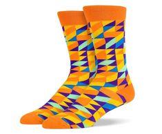 Orange Blue Purple Mosaic Socks