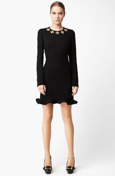 Alexander McQueen Jewel Neck Wool Crepe Dress