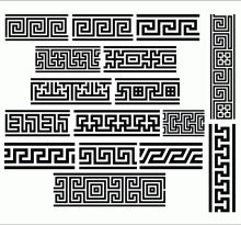 Here is a collection of 16 ancient antique patterns known under the names of Greek fret patterns, Greek key patterns and meander patterns. Ancient Greece Clothing, Ancient Greece Fashion, Ancient Greece Lessons, Ancient Greece For Kids, Ancient Greek Tattoo, Ancient Egyptian Art, Ancient Aliens, Greek Mythology Tattoos, Greek Pattern