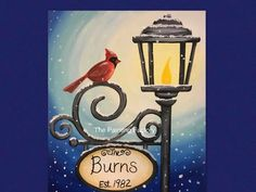 lamp post and christmas wreath painting on canvas - Google Search Christmas Paintings, Cardinal Paintings, Christmas Wreaths, Canvas, Google Search, Fall, Paintings On Canvas, Idea Paint, Christmas Garlands