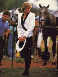 June 18, 1985: Princess Diana at the end of a polo match at Guards Club, Smiths Lawn in Windsor, Berkshire.