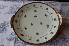 Limoges Vintage Porcelain, Gold Trim Floral Round Serving Platter, Cookie Plate with handles, Brocante Platter, French Shabby Chic Cake dish