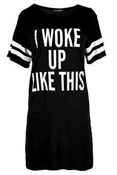 Available now, you need to get these Women's Stripes T Shirt Ladies Cap Sleeve I Woke Up Like This Slogan Dress Top Plus Size (UK 20/22) Black