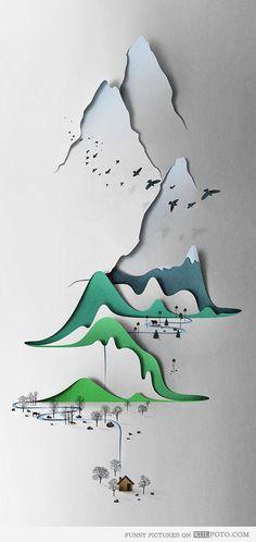 Paper cut art - Cool art -- a landscape created with paper cutting.