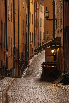 Narrow cobbled street in the Old Town, Stockholm, Sweden