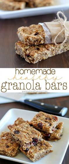 These Homemade Healthy Granola Bars are full of good stuff oats wheat germ flax seed dried cranberries and applesauce to name a few! Theyre quick to make and are a great healthy snack to eat throughout the week. A family favorite! Healthy Granola Bars, Homemade Granola Bars, Healthy Cat Treats, Healthy Snacks, Healthy Cake, Healthy Recipes, Healthy Smoothies, Healthy Cooking, Crockpot Recipes