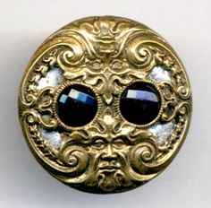 antique late 19th century Victorian brass button with reflective back and faceted jewel stones