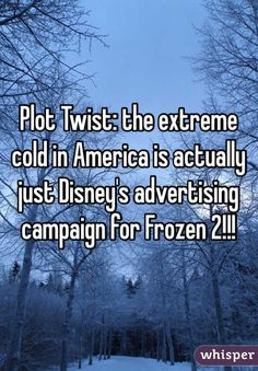 """""""Plot Twist: the extreme cold in America is actually just Disney's advertising campaign for Frozen 2!!!"""""""