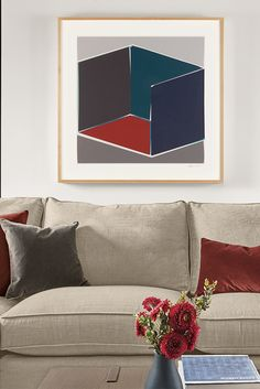 Vivid colors, disciplined lines and strong shapes add visual impact to these graphic works by Henri Boissiere. Contemporary Wall Art, Vintage Artwork, All Wall, Vivid Colors, Living Room Furniture, Cube, Pop Art, Photos, Home Decor