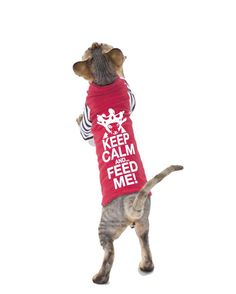 Pet Clothes, Keep Calm and Feed me, Sphynx cat clothes, Costume for Pets, Strange striped Sleeves, cat clothing, dog clothes, Custom Cat Clothes  See all the Keep Calm and Feed shirts here: http://etsy.me/2c6odEg Including a MATCHING SHIRT FOR YOU!  The Shirt and Artwork: Inspired by the hunger of my cats, and their snooty royal attitude, Keep Calm and Feed Me and Keep Calm and Feed the Sphynx are topped by a drawing of an actual Sphynx Cat (Dora) wearing our costume of Crown and Cape at…