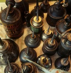 ∷ Variations on a Theme ∷  Collection of antique oil cans