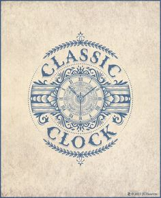 Classic Clock - Jean-Charles Desevre also known as JC Desevre. French Graphic Artist. This is vector art -- not an old engraving.