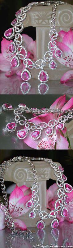 Elegant Pink Sapphire Diamond Necklace, 11,53 cts. WG-18K - Visit: schmucktraeume.com - Like: https://www.facebook.com/pages/Noble-Juwelen/150871984924926 - Mail: info@schmucktraeume.com