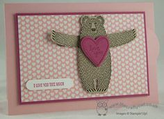 Check out this fun #slidercard The cute #bearhugs bear's arms grow longer as you pull the tab! #ILoveYouThisMuch The Crafty Owl | The daily blog of Joanne James <br />Independent Stampin' Up! Demonstrator -- <a href=mailto:joanne@thecraftyowl.co.uk>joanne@thecraftyowl.co.uk</a>