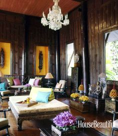 Iconic fabric designer Jim Thompson's Living Room in Bangkok, Thailand is beyond inspiring. See his fabrics at Webster & Company.
