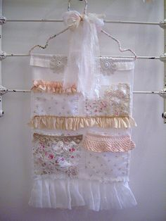 ❧♡° vintage fabric and lace pockets