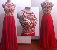 Red Prom Dresses,Long Prom Dresses,Luxury Crystal Prom Dresse