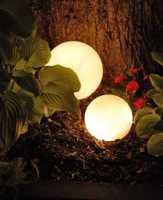 DIY - Garden lighting. I bet this would work with solar panel string lights too.
