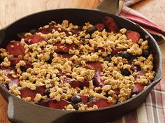 Skillet apple-berry crumble; easy to make without oil/Earth Balance.