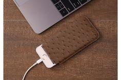 Etui Languette iPhone SE - Tabac - Autruche Véritable