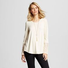 Women's Knit Top with Lace Sleeves - Knox Rose™