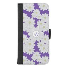 Daisy Monogram Purple iPhone 8 Plus Wallet Case Custom Brandable Electronics Gifts for your buniness #electronics #logo #brand