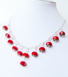 Red  Crystal Sterling Silver Necklace  Dangles by BijiBijoux, $44.00