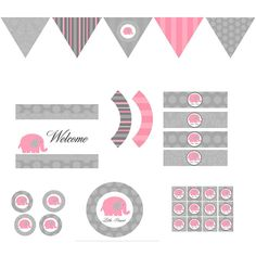 Pink Elephant Full Party Decor DIY Girls Printable Birthday Party Baby Shower Decorations Gray Vintage Damask