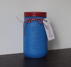 Mason Jar Bank ~ Red Blue ~ Great Gift ~ Boys Room ~ Tip Jar by MyLilCraftyRoom on Etsy