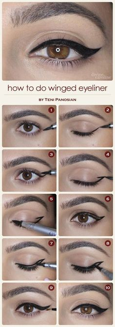 Different and Easy Ways to Apply Eyeliner.How to Apply Liquid Eyeliner for Beginners .Pencil Eyeliner Tricks to Make Your Eyes Pop .How to Apply Eyeliner Perfectly: Step by Step Tutorial.How to choose and apply eyeliner .Using eyeliner How To Do Winged Eyeliner, Winged Eyeliner Tutorial, Winged Liner, Perfect Eyeliner, Perfect Makeup, Awesome Makeup, How To Do Eyeshadow, Cat Eye Makeup Tutorial, How To Do Eyebrows
