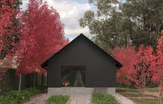 Adam Kane Architects achieve a pared back, modern redesign of home and its accompanying barn on an established garden plot in the Macedon Ranges. Australian Architecture, Architecture Design, Black Architecture, Ancient Architecture, Sustainable Architecture, Landscape Architecture, Timber Pergola, Macedon Ranges, Modern Shed