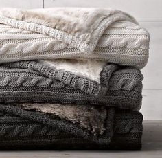 Elegant grey cable knit throw blanket cable knit luxe faux fur stroller blanket from restoration hardware baby love love love VASRUUR - Crochet and Knit charcoal gray, tan, and cream cable knit blankets with soft fur on the back - i love these cozy double Cable Knit Blankets, Cozy Blankets, Winter Blankets, Fluffy Blankets, Restoration Hardware Baby, Rh Baby, Faux Fur Blanket, Stroller Blanket, Crib Blanket
