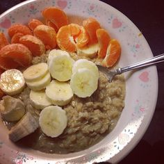 A power-packed breakfast:  Oatmeal with Quinoa flakes One banana Two mandarin oranges  No sugar added!