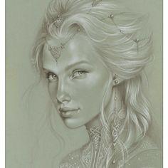 Drawings rcents Official website of Sandrine Gestin: painter of ferie and l Amazing Drawings, Cute Drawings, Art Sketchbook, Pencil Art, Portrait Art, Figure Drawing, Female Art, Art Sketches, Sculpture Art