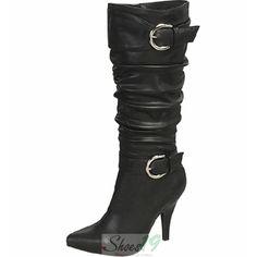 271e606fa365e Monica 13 Black Pointy Knee High Fashion Boots Black Mid Calf Boots