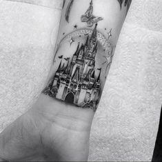 Disney's Cinderella Castle by Bobby Loveridge, an artist at Churchyard Tattoos in Hitchin, Hertfordshire, England. Mädchen Tattoo, Arm Band Tattoo, Tattoo Drawings, Tattoo Quotes, Tattoos Skull, Body Art Tattoos, Small Tattoos, Cool Tattoos, Spine Tattoos