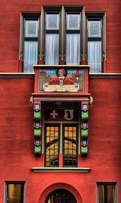 TOWN HALL WINDOW. BASEL, SWITZERLAND