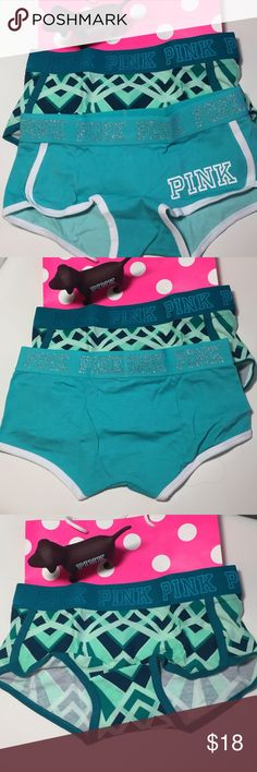 Bundle NWT VS PINK logo BoyShorts Small New with Tags Victoria Secret Pink Logo BoyShorts size Small,   fabric is 91% cotton and 9% Elastane, Bundle includes 2 shorts, low rise PINK Victoria's Secret Intimates & Sleepwear Panties