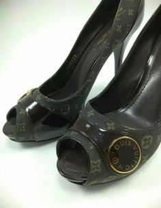 d1b94fa446a4 Louis vuittons shoes women Heels LV Canvas US 7.5 EUR 37.5  fashion   clothing  shoes  accessories  womensshoes  heels (ebay link)